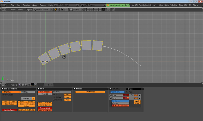 blender how to make a curved object
