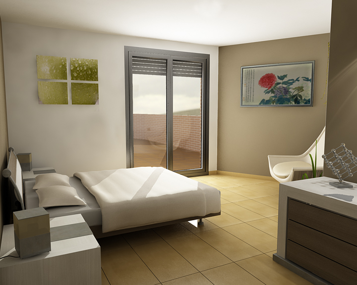 Interior habitacion matrimonio aseo y pasillo for Amueblar habitacion matrimonio