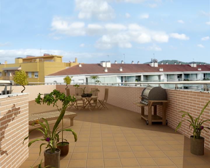 Interior comedor cocina y terraza for Comedor para terraza