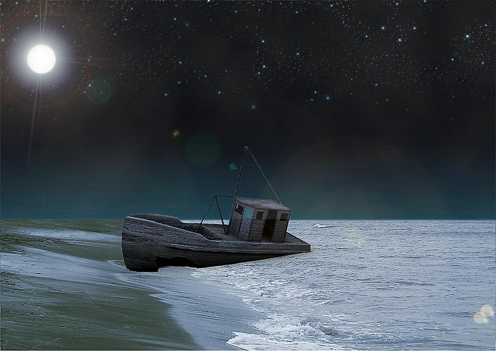 Barco abandonado de noche