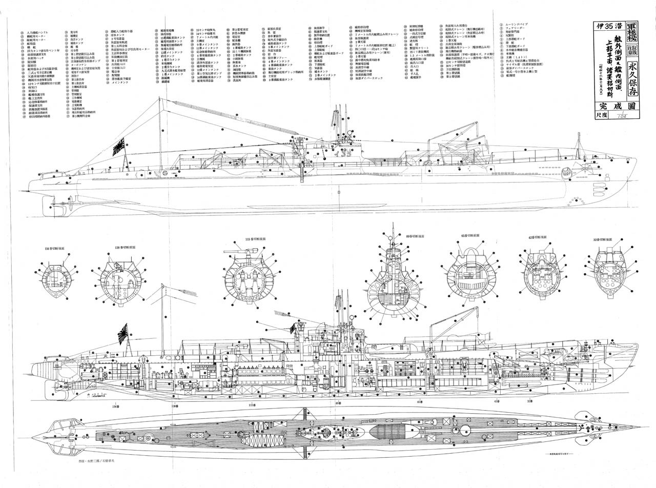 Blueprint submarino japones i-29