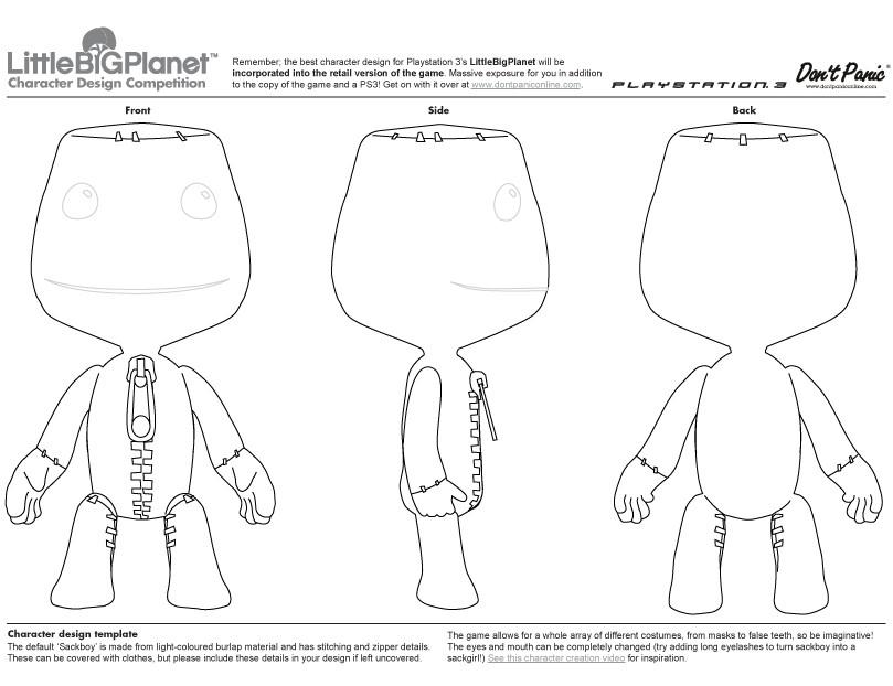 Blender Character Modeling Template : Blueprint sackboy little big planet