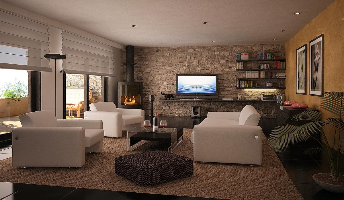 Ambiente casa rustica moderna en mallorca for Casa moderna 4 ambientes