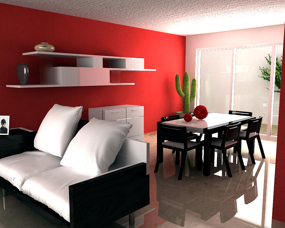 Casa en rojo for Decoracion de interiores color rojo