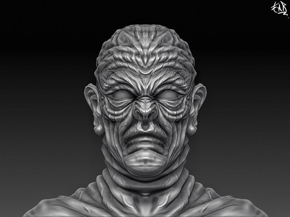 "ZBrush] Modelando al ""señor wrinkles"""