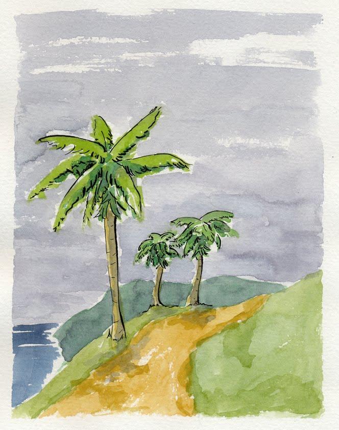 Acuarela de palmera vintage
