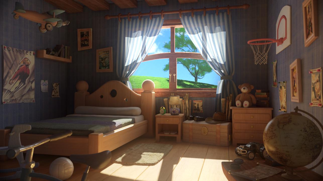 Cartoon room for 3 living room house