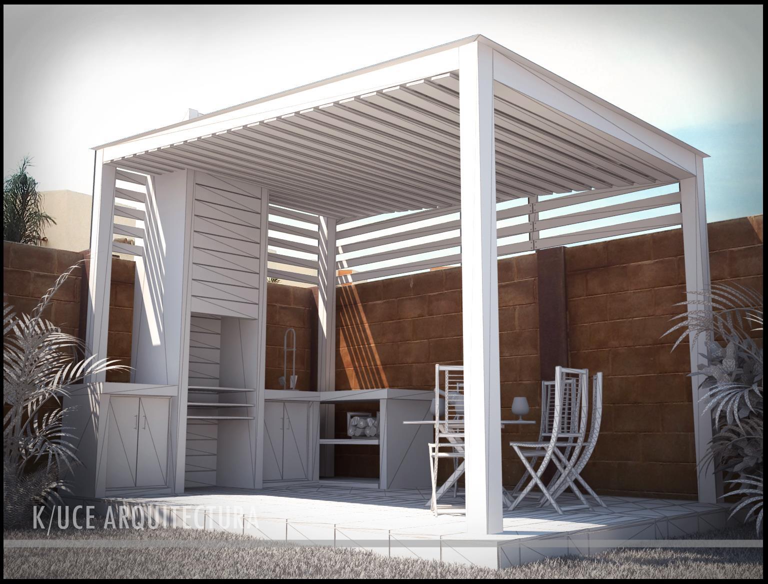 Terraza con asador for Asador en patio pequeno