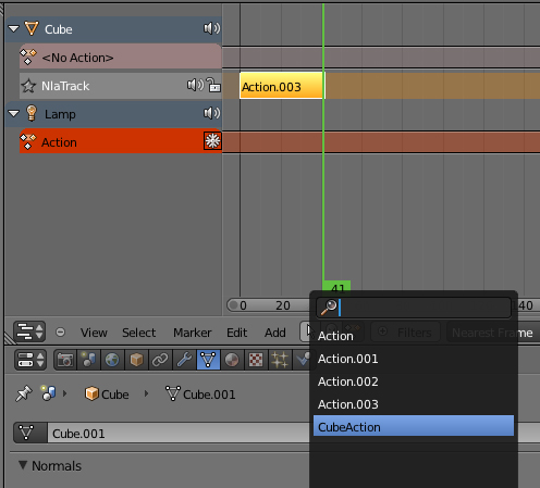 Es posible que un unico archivo en blender tenga multiples animaciones -dope2.jpg