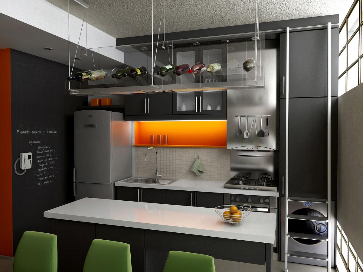 Casa en el campo y algunos renders interiores for Cocinas interiores casas