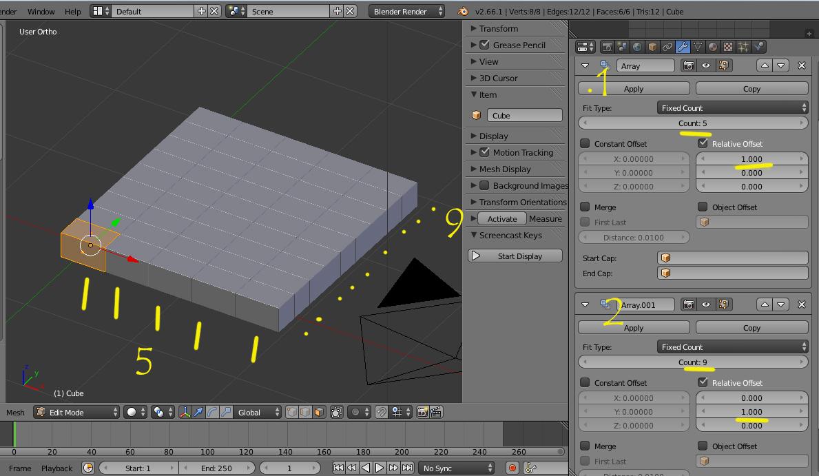 como hacer modelos estilo minecraft en blender-array.jpg
