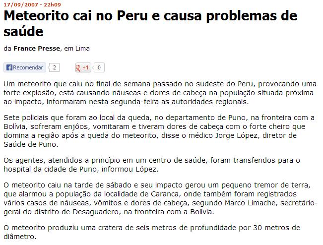 El viaje del Meteorito-folha-online-mundo-meteorito-cai-no-peru-e-causa-problemas-de-saude-17-09-2007.png