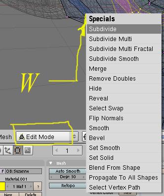 Opciones de subdivision de los objetos en modo edicion con la tecla W Subdivide-w01.jpg