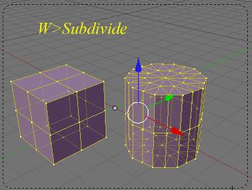 Opciones de subdivisión de los objetos en modo edición con la tecla W Subdivide-w03.jpg