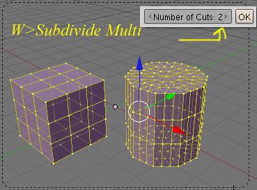 Opciones de subdivision de los objetos en modo edicion con la tecla W Subdivide-w04.jpg