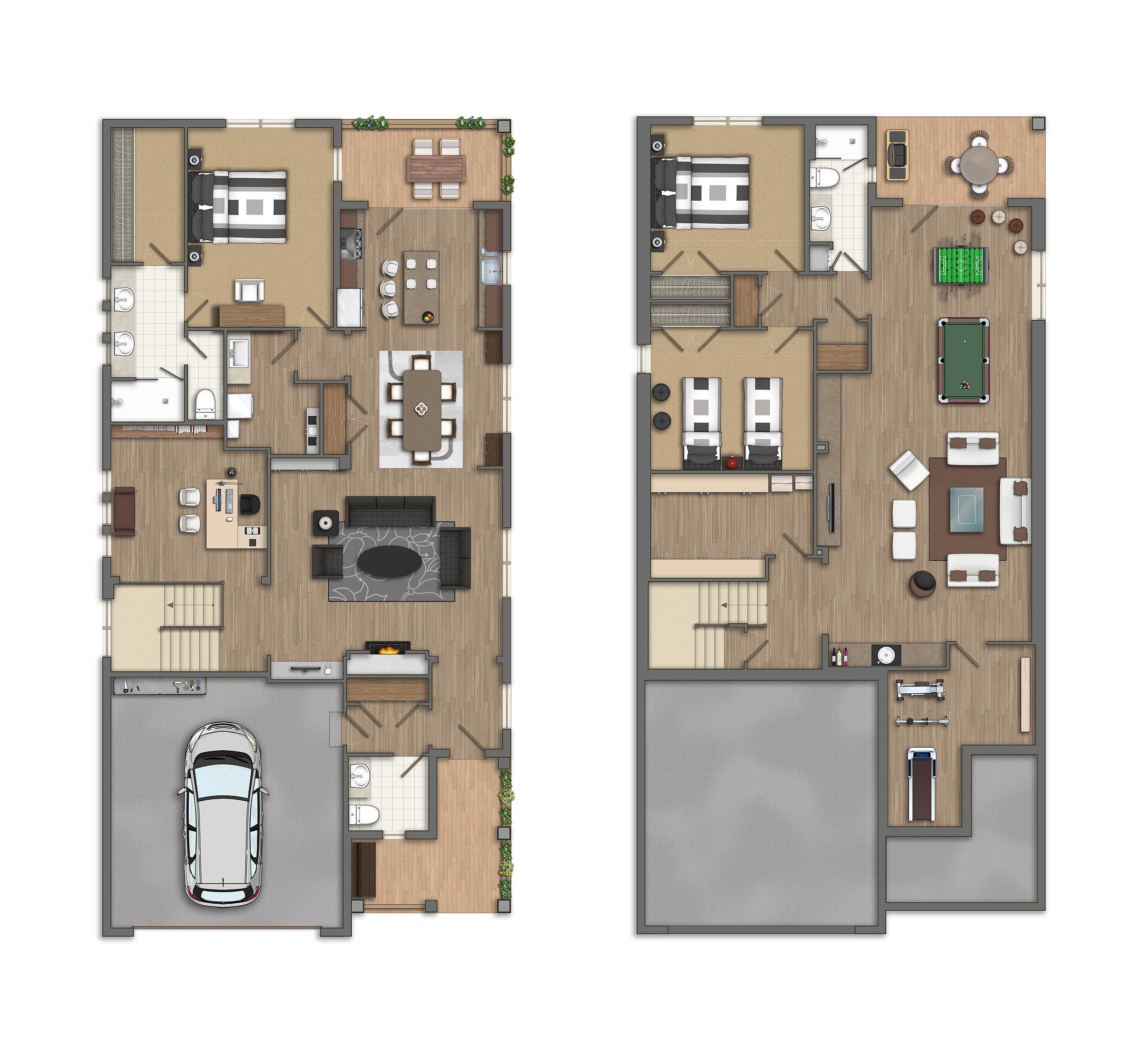 Photoshop planos 2d casas americanas for Programa planos 2d