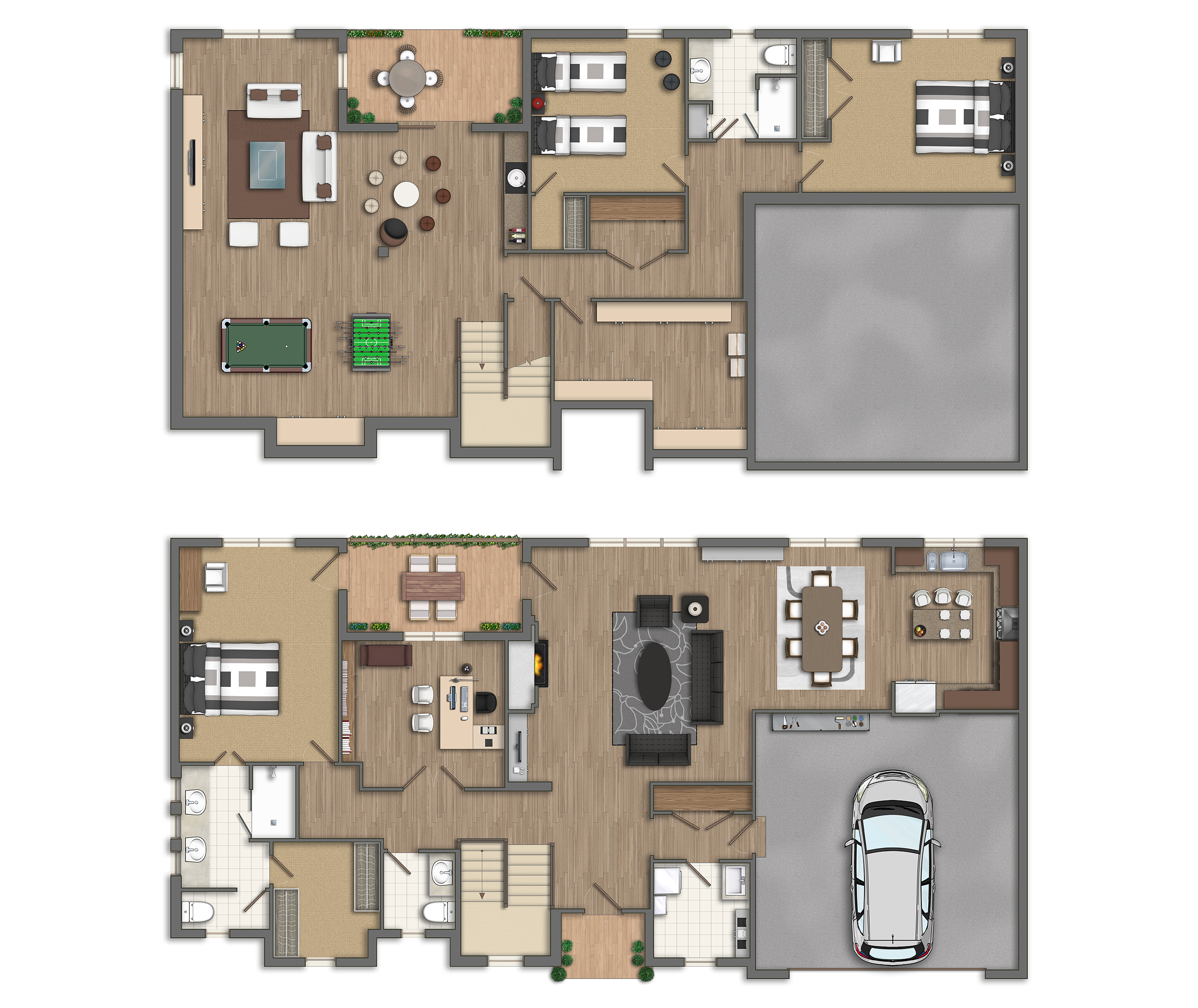 Photoshop planos 2d casas americanas for Casas americanas planos