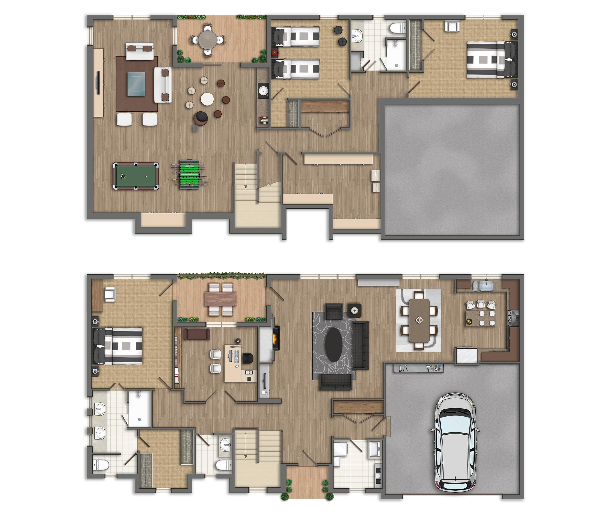 Photoshop planos 2d casas americanas - Como hacer planos de casas en 3d ...