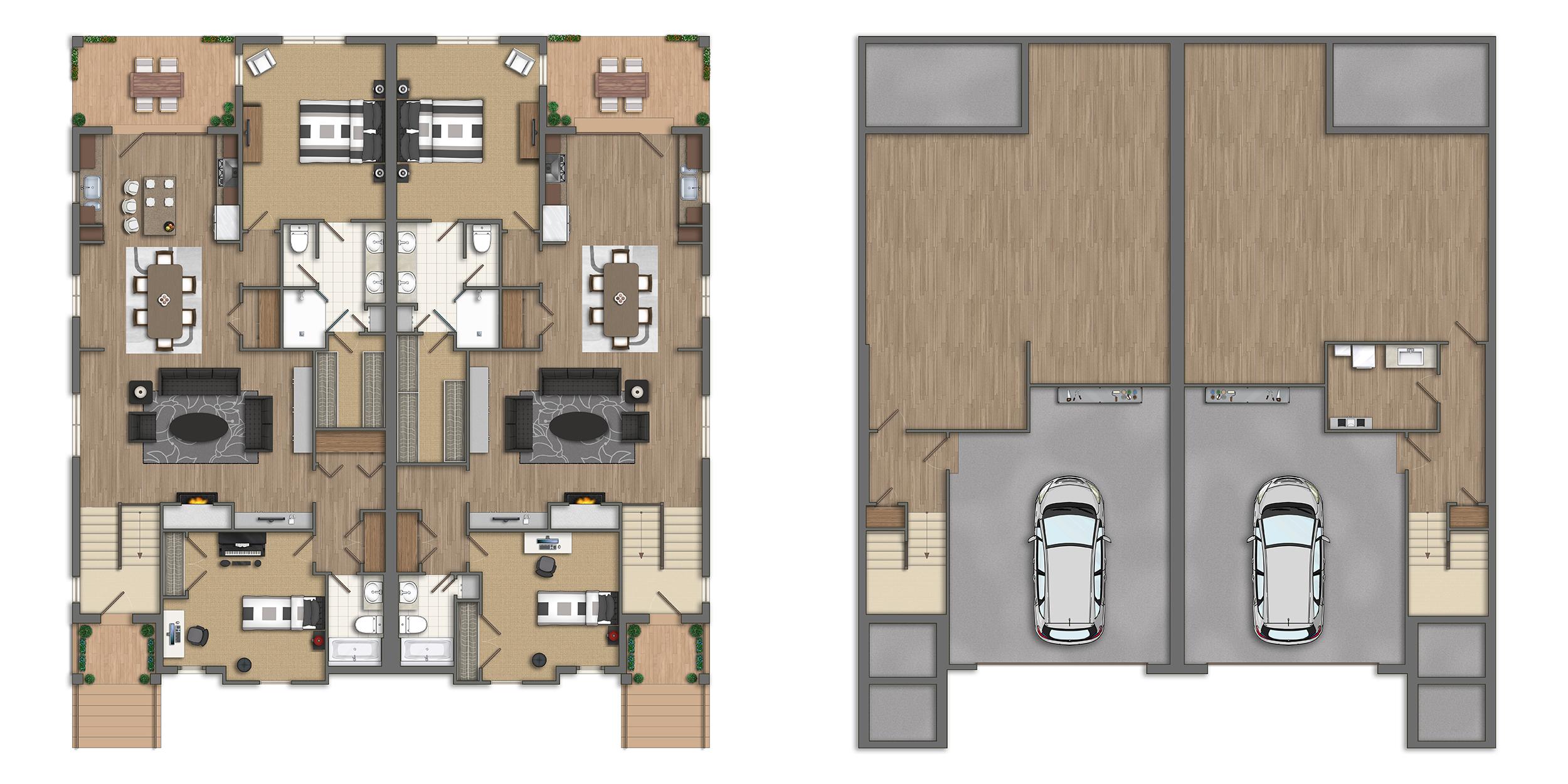 Photoshop planos 2d casas americanas - Casas americanas planos ...