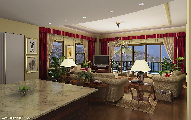 Salon y terraza for Rectangular living room designs
