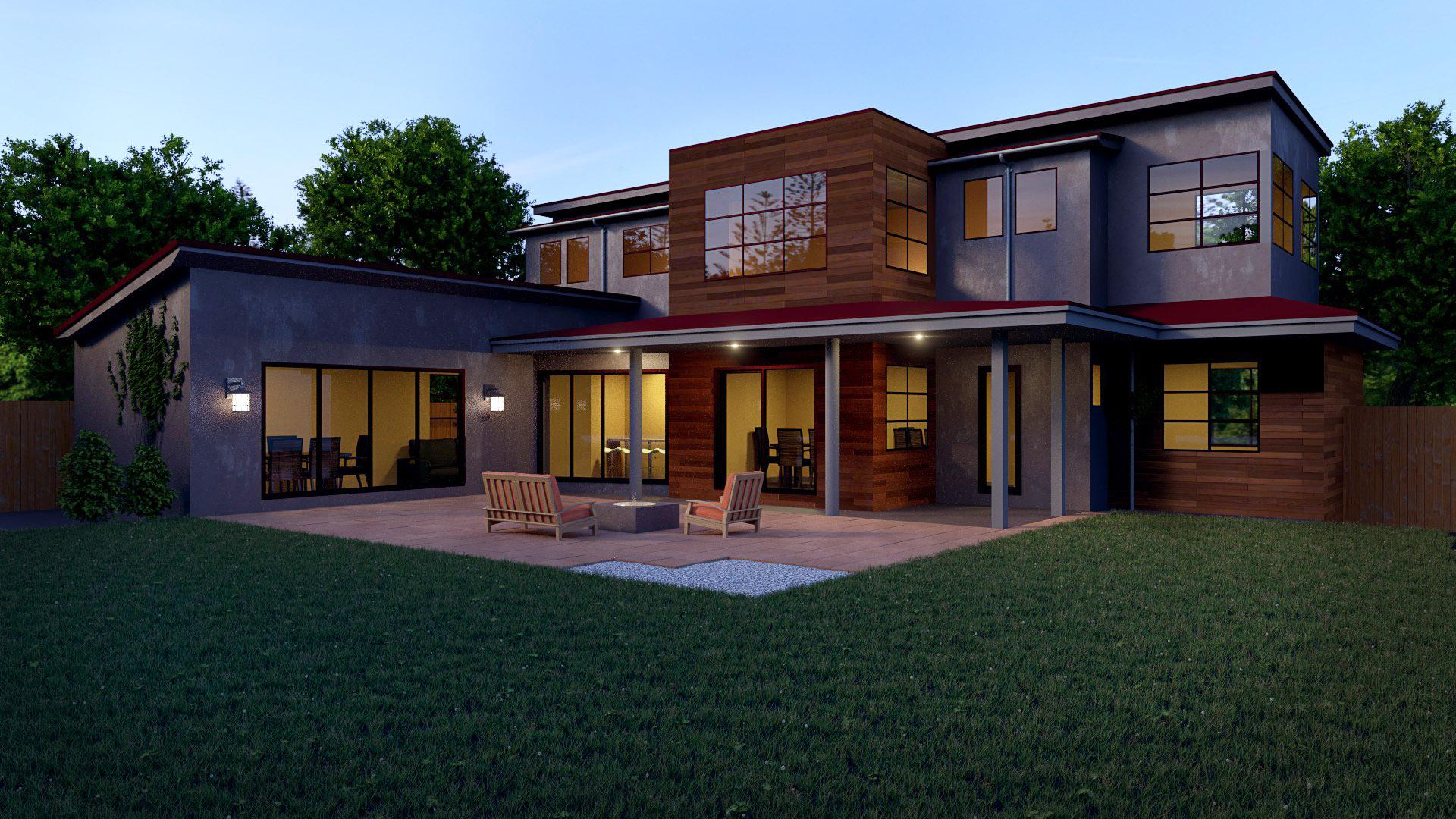 Blender exterior arquitectura casa moderna for Casas modernas exterior