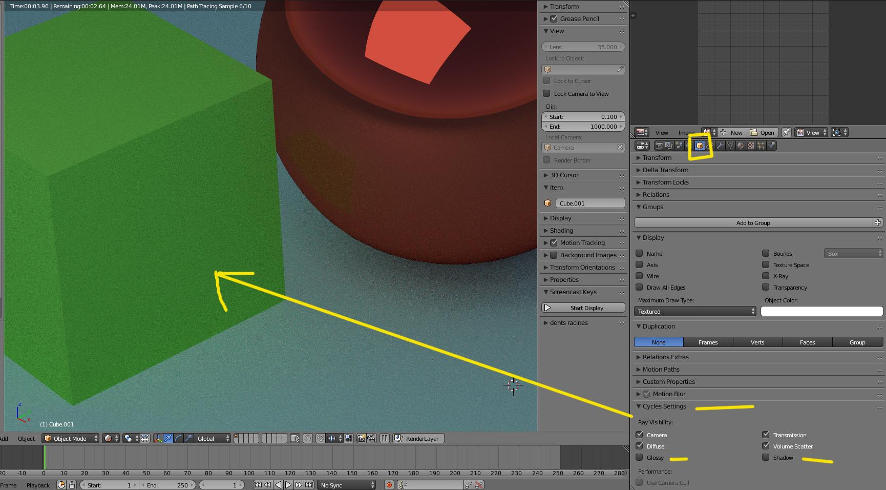 Blender, Cycles, evitar o disminuir el reflejo de un material sobre otro-reflejos.jpg
