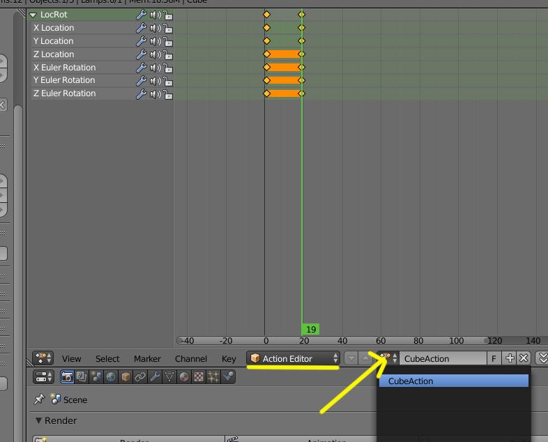 Guardar animación de textura en blender-action.jpg