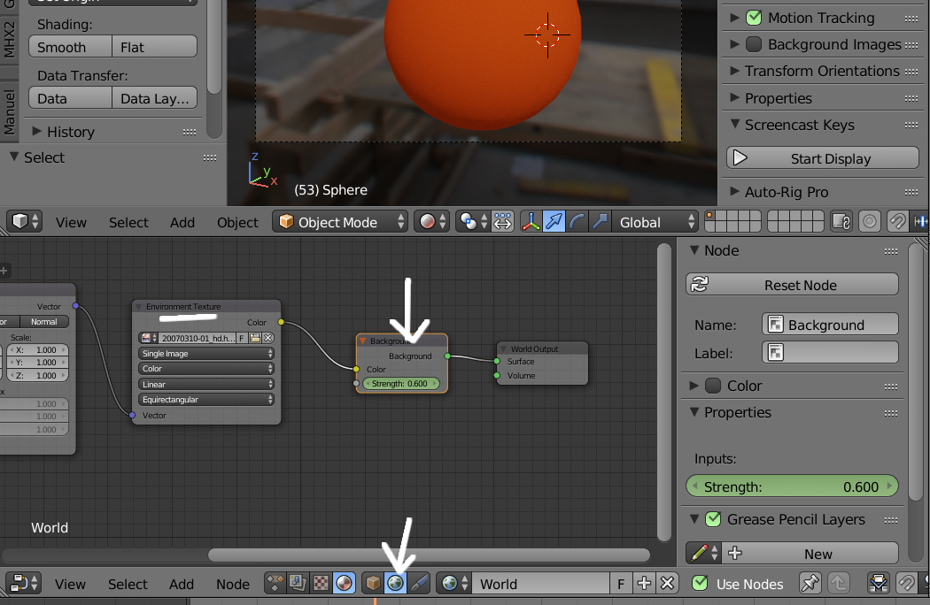 Animación del fondo: Editar curva: Environment Texture: strength-1vv.jpg
