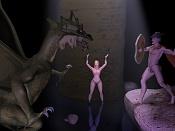 Escena del dragon y Sant Jordi  -  autor del Render: 8tintin-human11cueva2.jpg