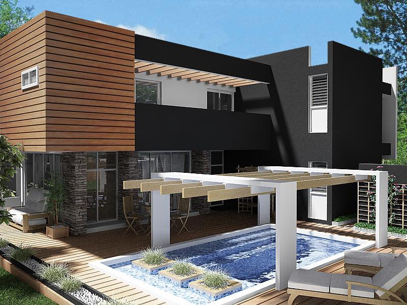 Casa exterior terminada for Decoraciones para exteriores de casas