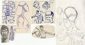 Dibujos rapidos , Bocetos  y apuntes  en papel -trozos.jpg