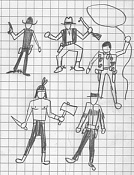 Dibujos rapidos , Bocetos  y apuntes  en papel -pistoleros.jpg