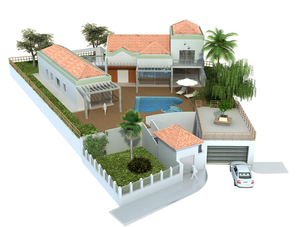 Ayuda mejorar render casa con piscina for Casas minecraft planos