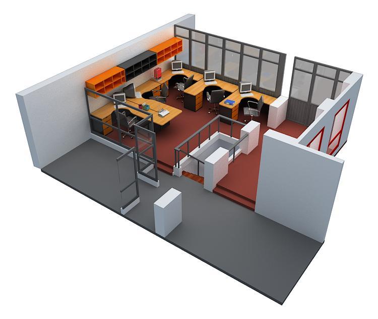 Peque a oficina for Diseno de oficinas 3d