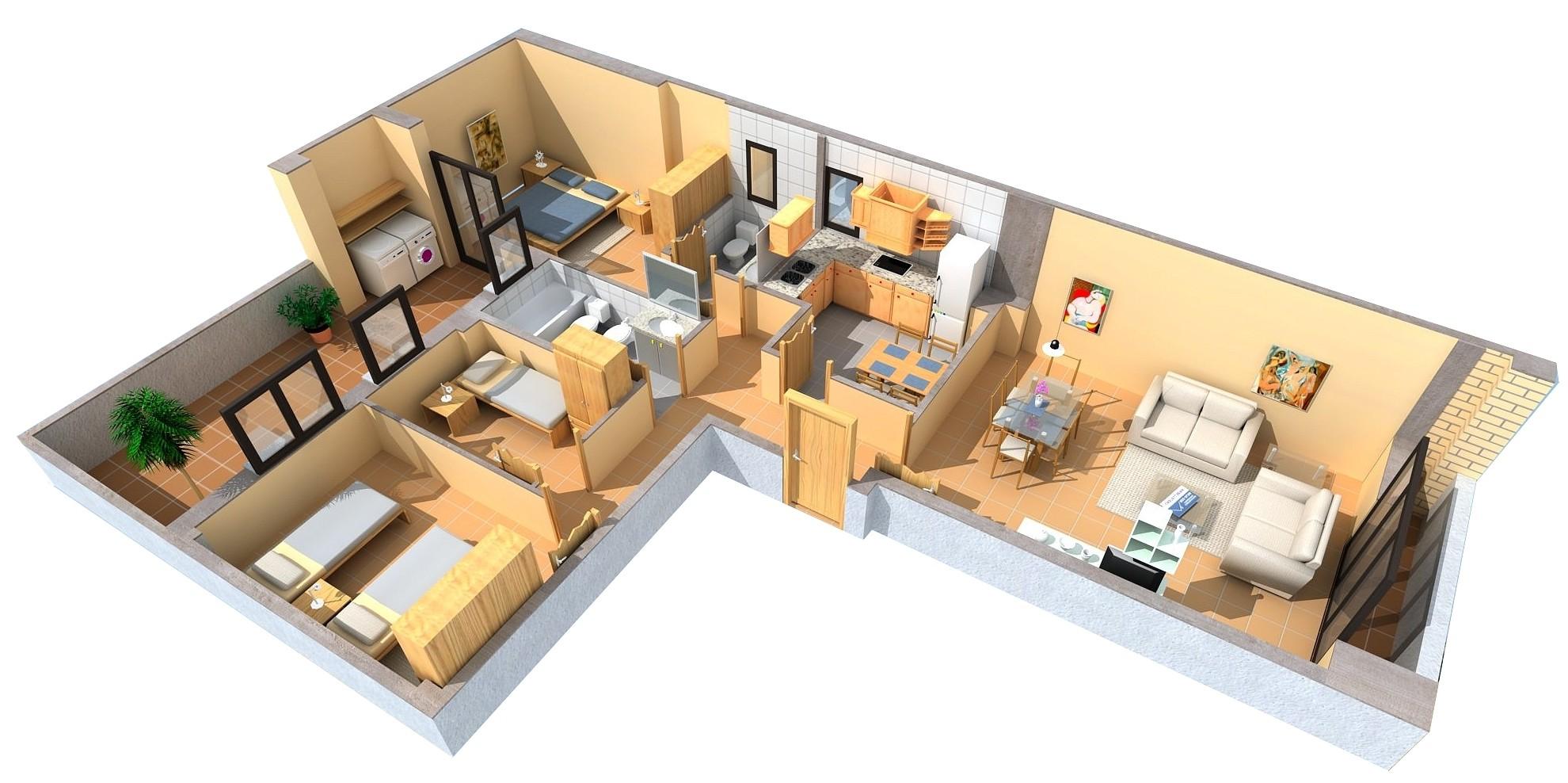 Sobre planos 3d for Habitaciones 3d gratis