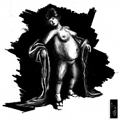 Dibujos rapidos , Bocetos  y apuntes  en papel -geicha-gorda.jpg