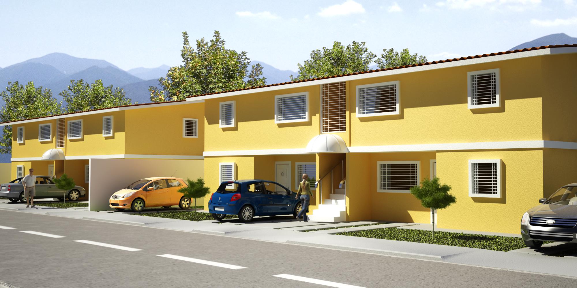 Conjunto de fachadas de casas mexicanas con un estilo for Estilos de fachadas de casas