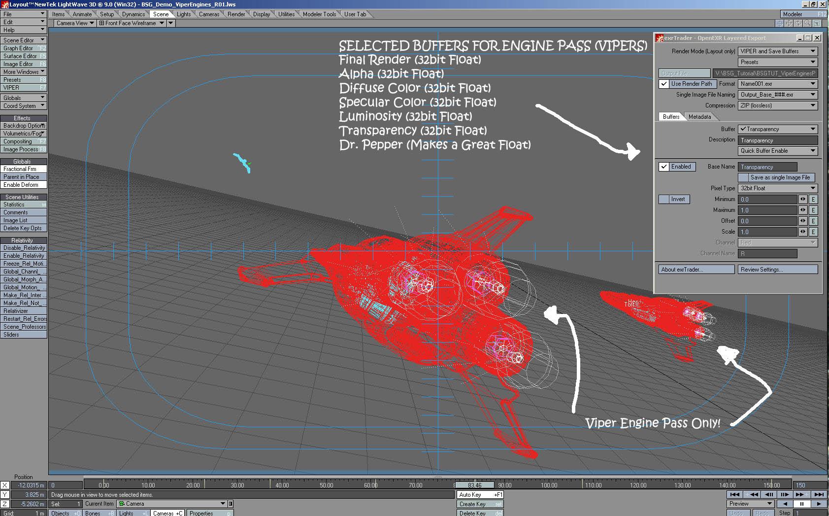 Making a space scene the Battlstar Galactica Way using Lightwave3D-viperengines_pass_bufferscreenshot.jpg
