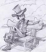 Dibujos rapidos , Bocetos  y apuntes  en papel -vaquerito.jpg