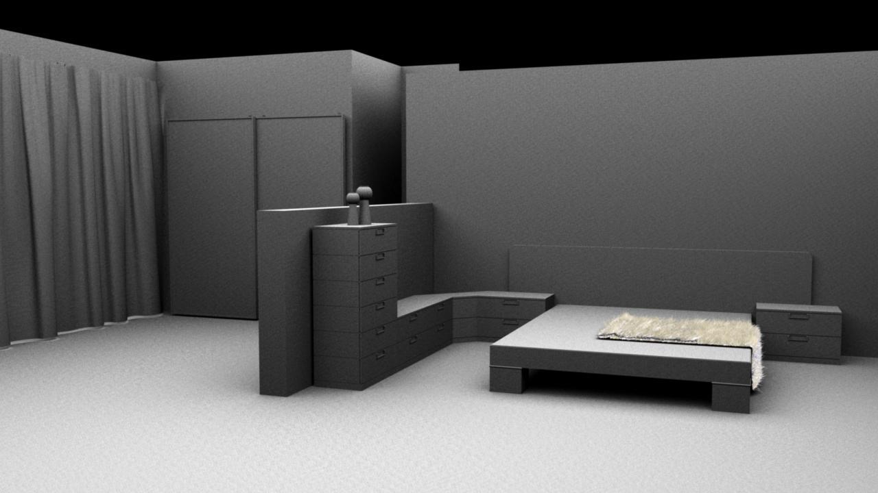 Habitacion moderna maya for Habitacion 3d autocad