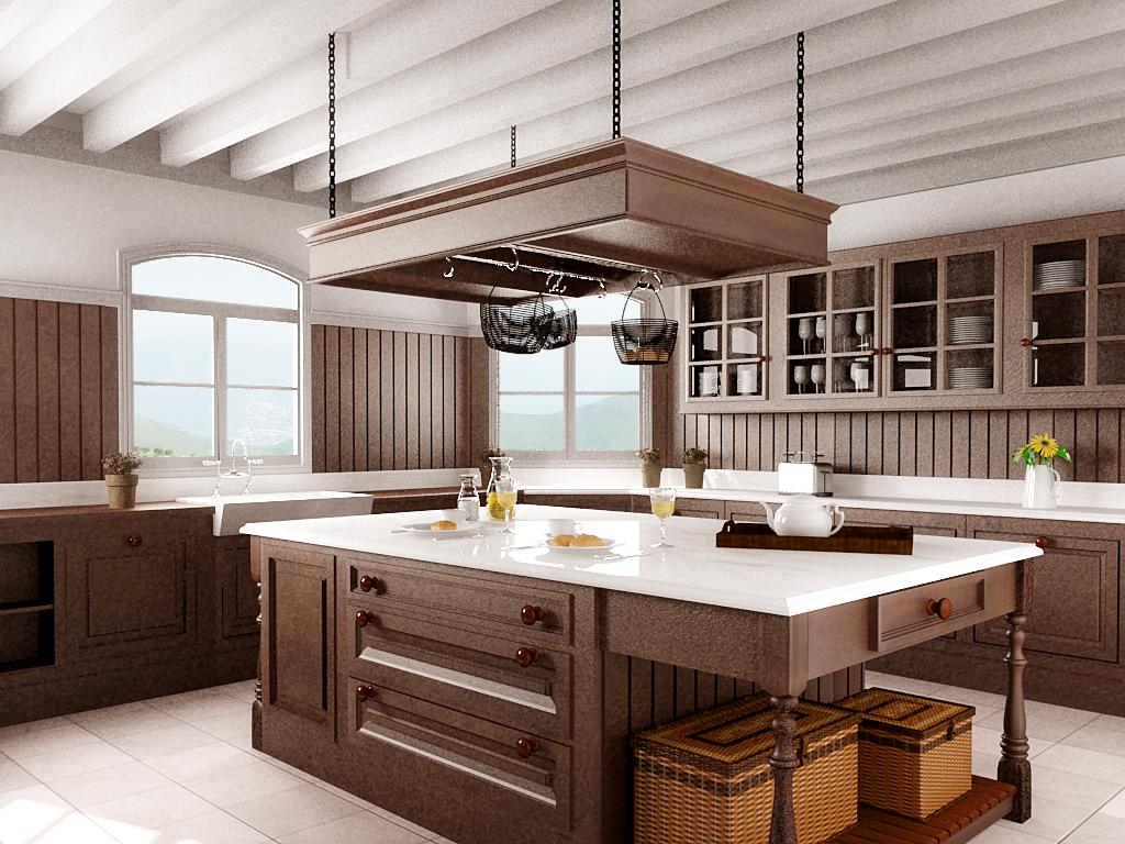 Cocina en madera con vray for Cocina de madera antracita